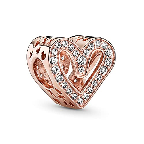 Annmors Sparkling Freehand Heart Charms 14K Rose Gold Plated Bead with Cubic Zirconia para Pulseras