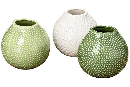 CasaJame Steingut Deko Vase in Seeigel Optik Design 3er Set farblich Sortiert hellgrün dunkelgrün weiß 13x13cm