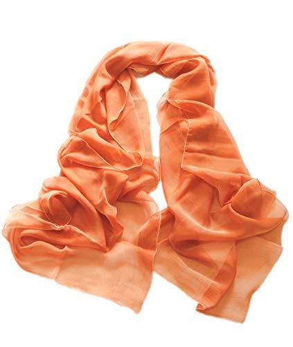 prettystern Damen 200cm Seidentaft 100% Seide Stole Abendkleid Party Begleiter Golden-orange