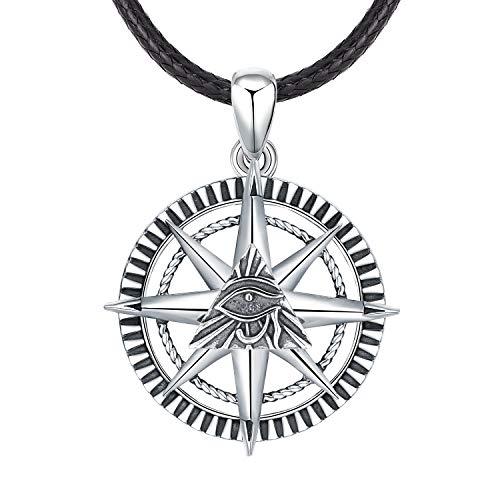 S925 Collar de plata esterlina para hombres, colgante del ojo de Horus Protección para hombre/Lucky/Joyas de amuleto, Regalos para novio/Padre/Hermano (plata)
