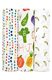Aden + Anais Silky Soft Swaddles, Bamboo Swaddle Blankets, 3 Pack, Pre-Washed, Muslin Blankets for Girls & Boys, Infant Swaddling Set, Tutti Frutti