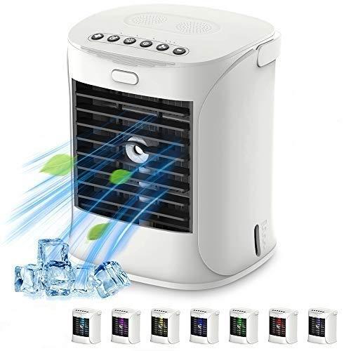 Mini Enfriador Portatil Multifuncion Aire Acondicionado USB 3 Niveles de Enfriamiento,Enfriador de Aire para Estar Fresquito,FuncióN de HumidificacióN,Ambientador,7 Colores LED,Me Quita El Calor