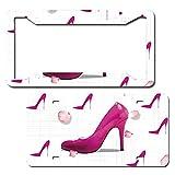 Unbranded Pink Graphics Lady High Heel Shoe Metal Novelty Targa Tag per auto, in alluminio, targa per auto, set di 2 pezzi