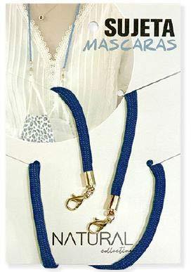 Cordón para Mascarillas - Sujeta Mascarillas para cuello - Cinta Colgador Mascarillas - Para adulto y niños (Azul Marino)
