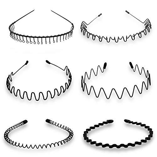 6 piezas Unisex Negro Spring Wave Metal Hair Hoop Hombres Mujeres Deportes Diadema Accesorio