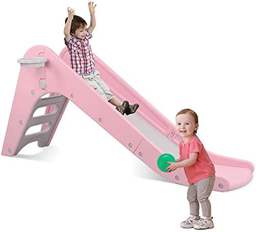 LAZY BUDDY Rutsche Kinder mit Basketballkorb, 2-in-1 Spaßrutsche Kinderrutsche für Innen und Außen, Rosa