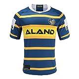 HUAXUN Maillot de Rugby pour Homme, T-Shirt d'entraînement 2020 Parramatta Eels Rugby Polo, T-Shirt Memorial Rugby 2019, Cadeau d'anniversaire-Blue-L