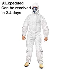 Deewin Disposable Protective Coverall Suit Elastic Waistband & Cuffs Isolation Suit with Long Front Zipper (5, Large)