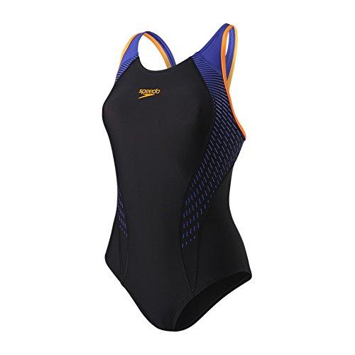 Speedo Fit Laneback Bañador, Mujer, Negro/Naranja (Fluorescente)/Azul (Ultramar), 36