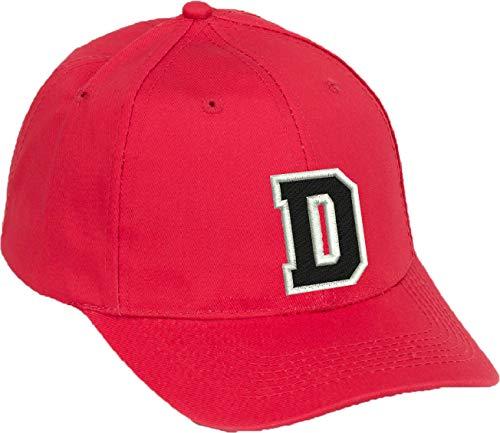4sold Gorra de béisbol Informal de algodón con Letras del abecedario en Negro niño Adulto Color Rojo A-Z (Rojo D, niño)