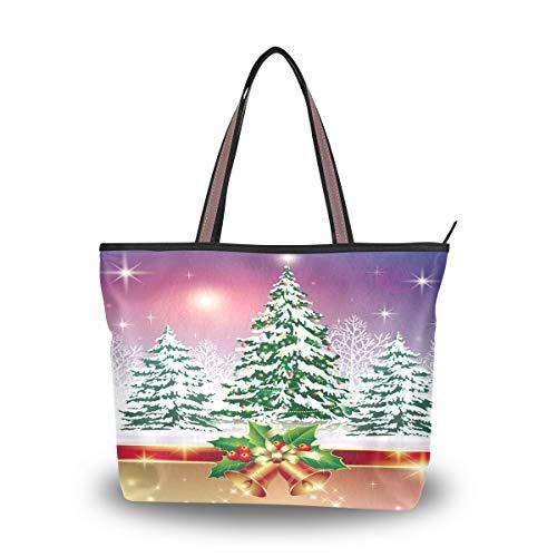 Ahomy Umhängetasche mit Weihnachtsglocke und Baum, Handtasche für Outdoor, Fitnessstudio, Wandern, Picknick, Reisen, Strand, Mehrfarbig - multi - Größe: L