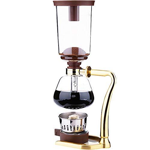 Feixunfan Siphon-Kaffeemaschine, manuell, Siphon, Kaffeemaschine, für Zuhause, Café und Tee, Glas, goldfarben, 37cmx17.5cm