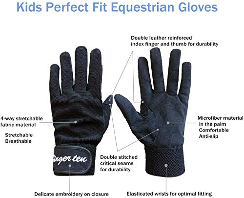 Kids Horse Riding Gloves Youth Non Slip Perfect Grip, Boys girls Equestrain Gloves Breathable Stretchable Sweat Absorbent fit All Seasons for Cycling Sport School Riding Gardening Bike (Black, L)