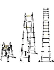 COSTWAY 5m Aluminium telescopische ladder, uitschuifbare lange multifunctionele ladder, 150 kg laadvermogenm, draagbare uitbreidingsladder met stabiliserende bar, ideaal voor daken zaken, huis inspecteur en huishoudelijke klussen