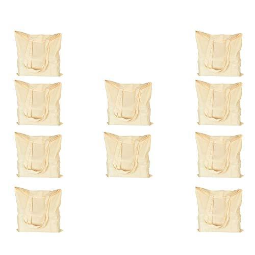 Premium Bio-Baumwollbeutel mit langem Henkel, wiederverwendbar, ideal zum Einkaufen, Siebdruck, entworfen und personalisierbar, maschinenwaschbar, 10 Stück, Größe: 38 x 42 cm