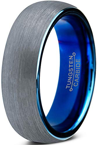 Charming Jewelers Tungsten Wedding Band Ring 6mm for Men Women Comfort Fit Blue Round Domed Brushed Size 9.5