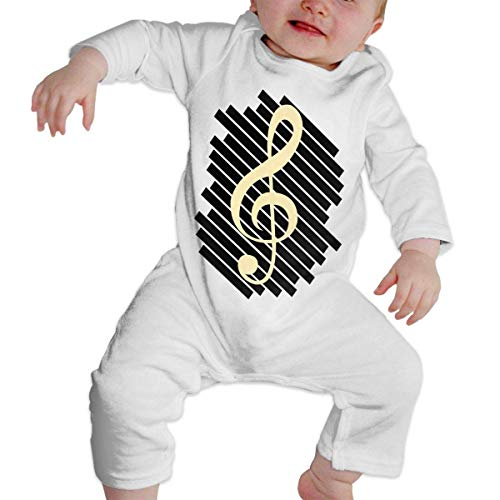 Music Note Stripe Long Sleeve Onesies Bodysuits for Baby Girls'