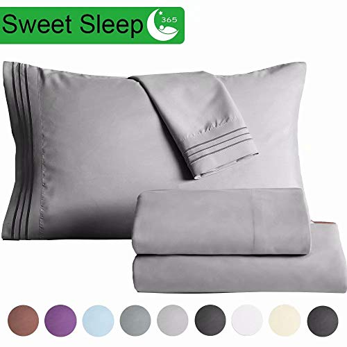 SAKIAO Queen Size Bed Sheets Set  Brushed Microfiber 1800 Thread Count Percale  16quot Deep Pocket Egyptian Sheets Beautiful Breathable Wrinkle Free amp Fade Resistant  4 Piece GreyQueen