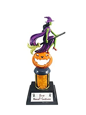 Flying Witch with Broomstick on Top of Pumpkin Personalize Trophy