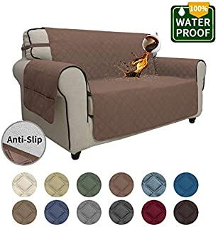 Easy-Going Sofa Slipcover Loveseat Cover Waterproof Couch Cover Furniture Protector Sofa Cover Pets Covers Seamless Whole Piece Non-Slip Fabric Pets Kids Children Dog Cat (Loveseat,Brown)