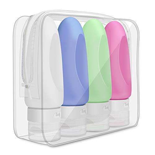 Opret Botella de Viaje 4 Pack TSA aprobó la Botella de Viaje de Silicona a Prueba de Fugas (89ml) para champús, lociones y artículos de tocador, FDA Certified BPA Free