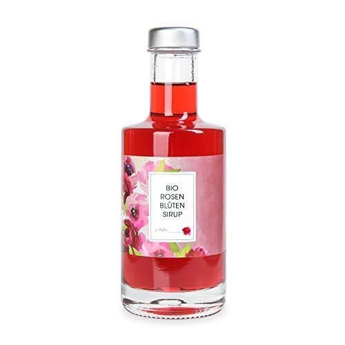 Bio Sirup Rose 200 ml – Rosensirup aus echten Rosenblüten für Cocktail, Dessert oder als Geschenk – Manufaktur von Blythen