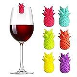 N/F Mokinga Marcadores de Vidrio De Silicona, Marcador De Vidrio De Flamenco, Marcadores De Copa De Vino Marcador De Silicona Marcador De Bebidas De Vino Multicolor, 6 Piezas