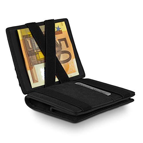 WEST® - Magic Wallet (Klassiker) großes Münzfach - inklusive edler Geschenkbox - Geldbeutel mit Münzfach - Der perfekte Begleiter für unterwegs - RFID Datenschutz (SCHWARZ)