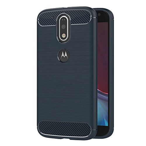 AICEK Funda Moto G4, Azul Silicona Fundas para Motorola Moto G4 Plus Carcasa Moto G4 / G4 Plus Fibra de Carbono Funda Case (5,5 Pulgadas)