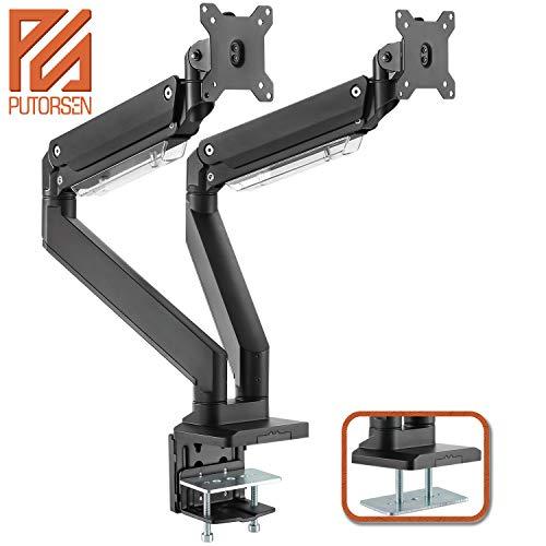 PUTORSEN® Monitor Tischhalterung 2 Monitore - Schwere Ausführung Premium Aluminium Schwenkbare Neigbare Höhenverstellbar Monitorhalterung für Zwei 17