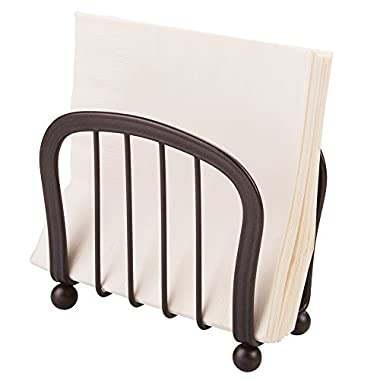 mDesign Modern Decorative Paper Napkin Holder for Kitchen Counter Tops, Dinner Tables, Picnic Tables - Indoor & Outdoor Use, Storage and Organization for Multiple Sizes - Durable Metal, Bronze Finish