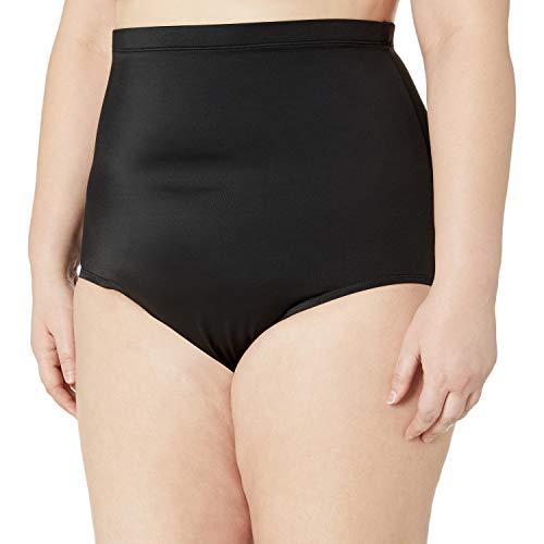 Amazon Brand - Coastal Blue Women's Plus Size Control Swimwear Bikini Bottom, Black, 1X (16W-18W)