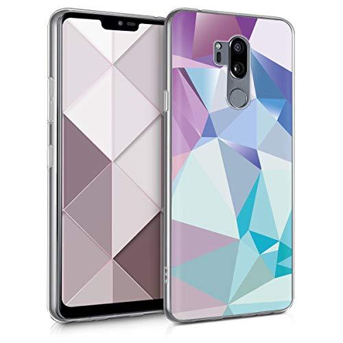 kwmobile Hülle kompatibel mit LG G7 ThinQ/Fit/One - Hülle Handy - Handyhülle Dreiecke Asymmetrie Hellblau Rosa Blau