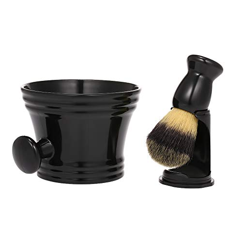Anself 3 in1 Brocha de Afeitar Soporte Brocha de Afeitar Húmeda para Hombre Cepillo De Barba para Herramientas de afeitar (Type2)