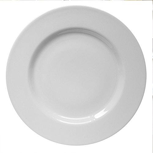 Saturnia Lot de 6 assiettes en porcelaine blanche série Ischia, fabriquées en Italie (6 assiettes plates de 26 cm)