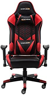 WENSIX Ergonomic Gaming Chair PC Racing Style High-Back Swivel Office Chair Computer Desk Chair with Lumbar Support and Headrest Pillow (Red-003)