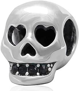 Skull Charm - 925 Sterling Silver Beads Head Hole Charm Teeth Zircon Charm Halloween Charm Beads fit DIY Bracelet