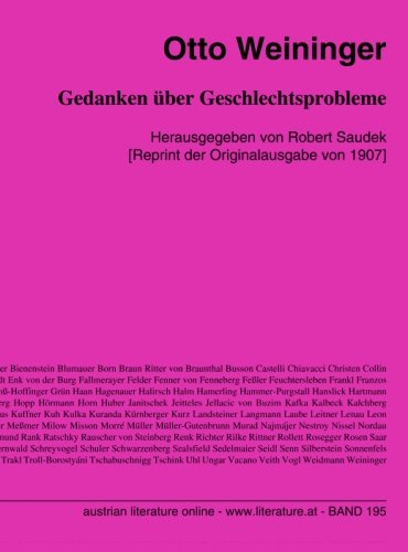 Gedanken über Geschlechtsprobleme: Herausgegeben von Robert Saudek [Reprint der Originalausgabe von 1907]