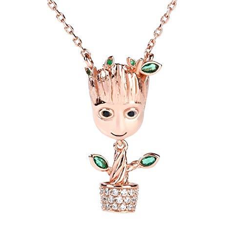 Jeulia Collar con colgante de plata de ley 925 con colgante chapado en oro rosa y colgante de piedra para mujer, regalo romántico para parejas