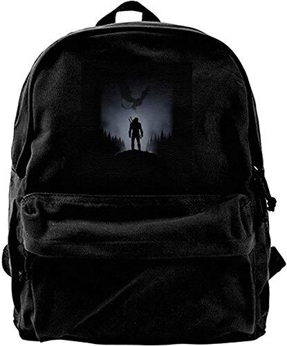 Homebe Canvas Backpack Witcher White Wolf Rucksack Gym Hiking Laptop Shoulder Bag Daypack for Men Women