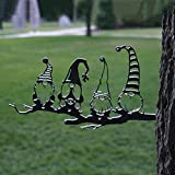 Crazyfly Steel Statue, Steel Branch Gnomes Decoration,Cute Hollowed Out Steel Garden Gnomes Steel Silhouette Dwarf Decor Branch,Ornaments for Home