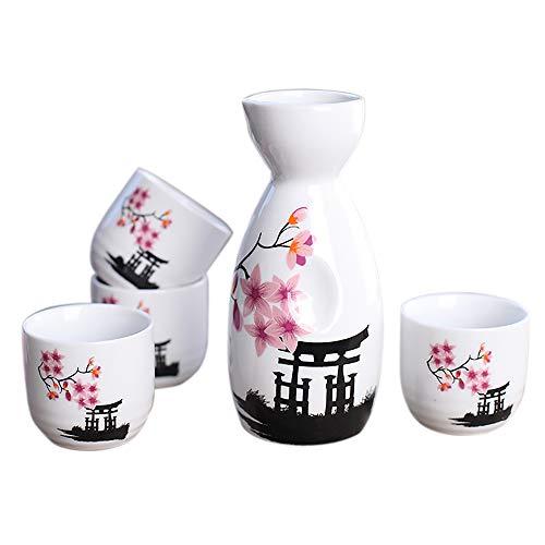 Panbado Set e Bicchieri da Sakè, Set Tradizionale Giapponese con Bicchierini da Sakè in Porcellana Ceramica Artigianale Set 5 Pezzi, 1 Sake Pot, 4 Tazze di Sake, Fiori Rosa