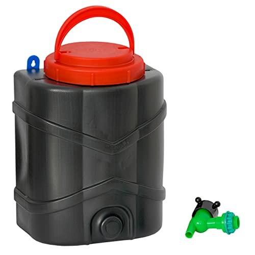 Dispensador de agua portátil de 10 litros con grifo, depósito de agua, depósito de agua para camping, jardín, casa de jardín, tienda de campaña, etc.