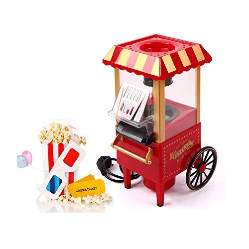 UFLIZOGH Popcorn Maschine 1200W Retro Popcorn Maker Heissluft ohne Öl/fettarm mit abnehmbarem Deckel für Zuhause (Rot)