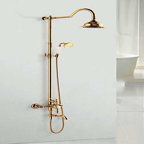 Read About L.J.JZDY Shower Set Copper Light Luxury Shower Set Rose Gold Gold Black Ancient Shower Se...