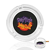 Deep Purple Judas Priest 灰皿 アッシュトレイ ガラス材 おしゃれ 煙草 喫煙 プレート 卓上 カフェ スタイル 透明 マルチ アクセサリー 雑貨 メンズ レディース 防風設計 家 オフィス