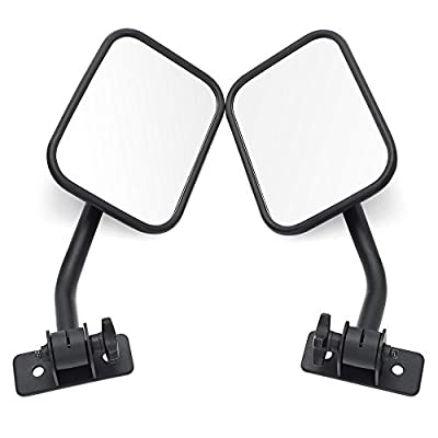 MICTUNING Shake-proof Off-Road Rectangular Adventure Doors off Mirrors, Bolt-on Door Hinge Mirror for 4x4 2007-2018 Jeep Wrangler JK YJ TJ - 1 Pair, Textured Black