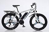 BWJL Bicicletas eléctricas para los Adultos, en Bicicletas de aleación de magnesio Ebikes de Tierra, 26'batería extraíble 350W 36V 13Ah Litio-Ion Ebike Montaña Hombres,Azul,13Ah80Km