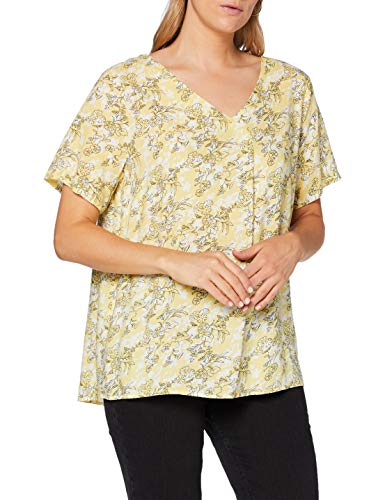 ONLY Carmakoma Womens CARBLOOM Life SS V-Neck TOP AOP T-Shirt, AOP:Bloom Pineapple Slice, 48