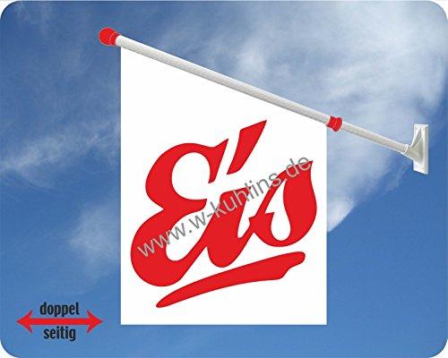 Werbeflagge (Fahne mit über 50 Varianten, Text und Bild, z.B. Eis, Döner, Kaffee, Crepes, Waffeln, Pommes uvm.) Ideal für Kiosk, Restaurant oder Kirmes, weiß (Eis 1)
